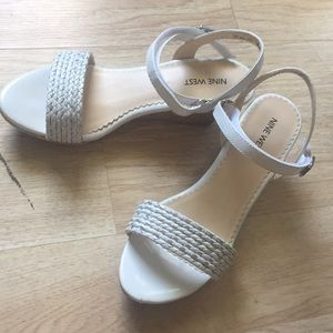 Nine West Edie White Wedge Sandals